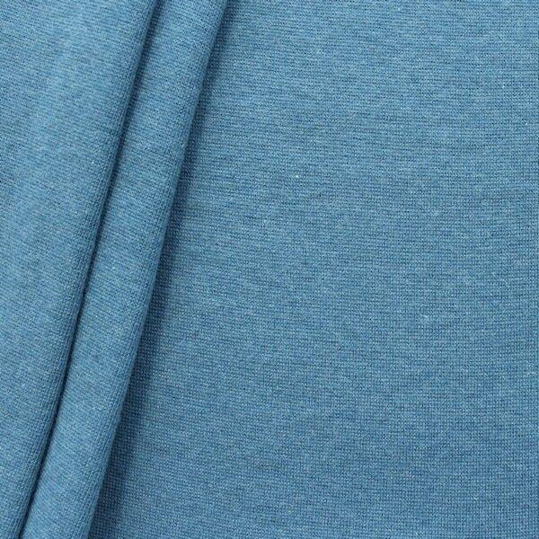 Baumwoll Bündchenstoff glatt Petrol-Blau meliert