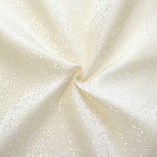 Futterstoff Jacquard Blumen Paisley Creme-Weiss