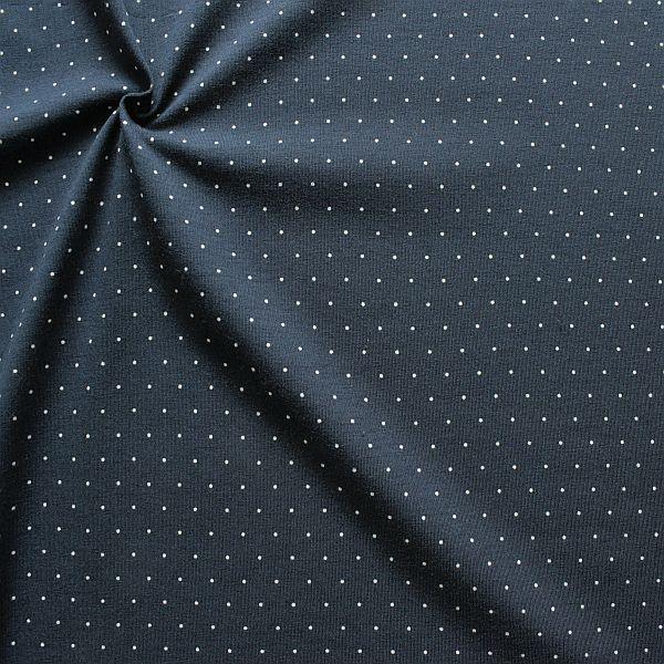 Baumwoll Stretch Jersey Mini Dots Dunkel-Blau
