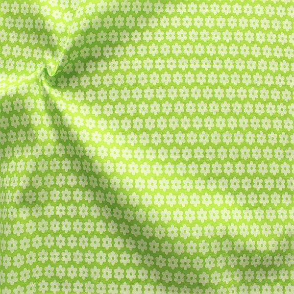 Baumwolle Popeline Blümchen Lind-Grün