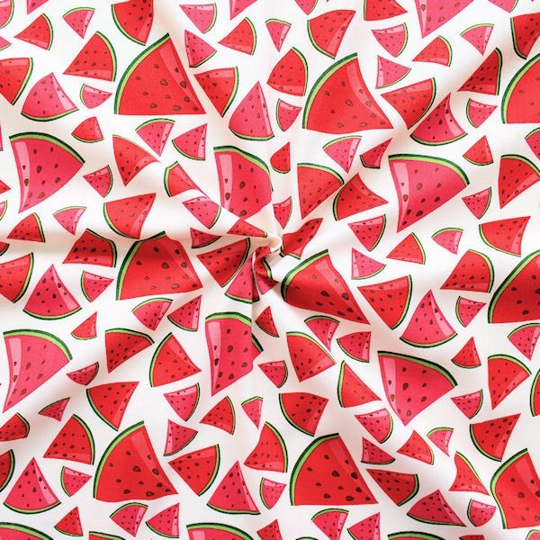 """100% Baumwollstoff """"Melonen"""" Farbe Creme-Weiss"""