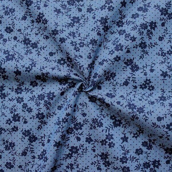 Blauer Baumwollstoff Chambray mit Blumenmuster