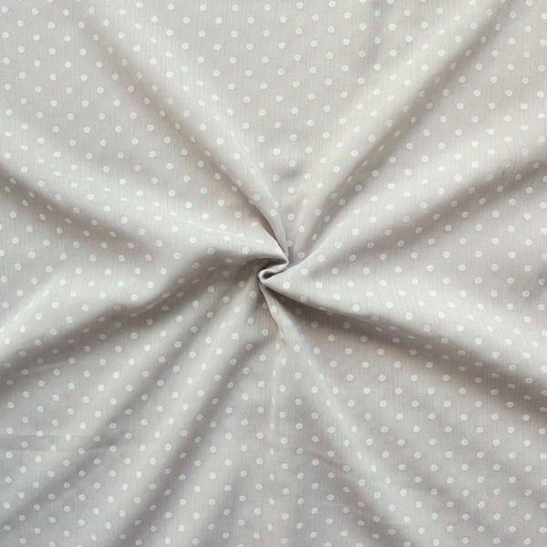 Crêpe Chiffon beflockt Punkte klein Taupe