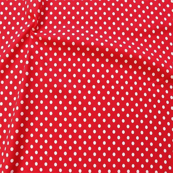 Baumwollstoff Popeline Tupfen Mittel Rot