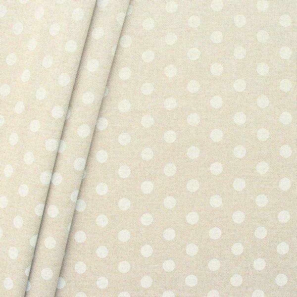 """Dekostoff """"Punkte Groß"""" Farbe Natur-Weiss"""
