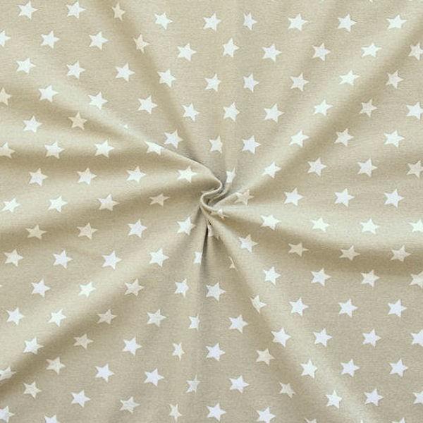 Baumwoll Stretch Jersey Sterne Beige-Weiss