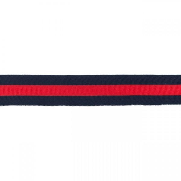 Elastikband Streifen 30mm Farbe Dunkel-Blau Rot