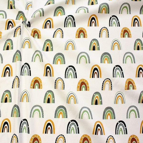 Baumwoll Stretch Jersey Regenbogen Grün-Ocker