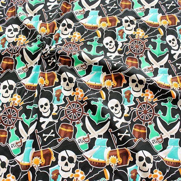 Baumwoll Stretch Jersey Piratenwelt Schwarz