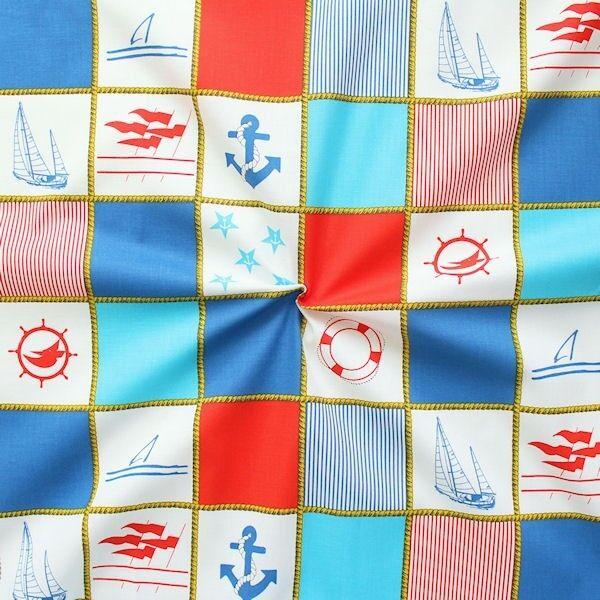 Baumwollstoff Yachting Patchwork Rot Blau Weiss