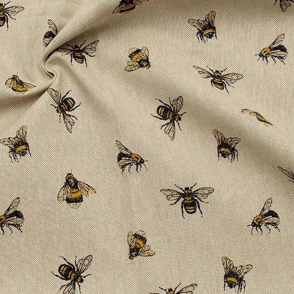 Dekostoff Halbpanama Leinen Optik Bienen Natur