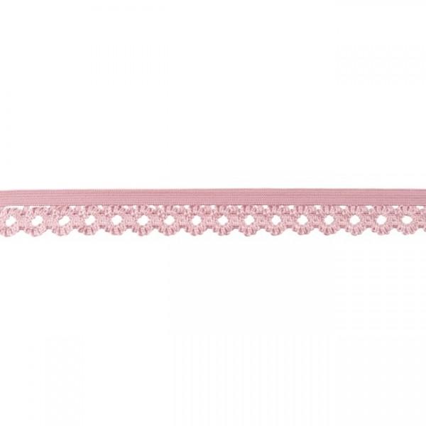 Elastische Spitze Blumen 20mm Farbe Alt-Rosa
