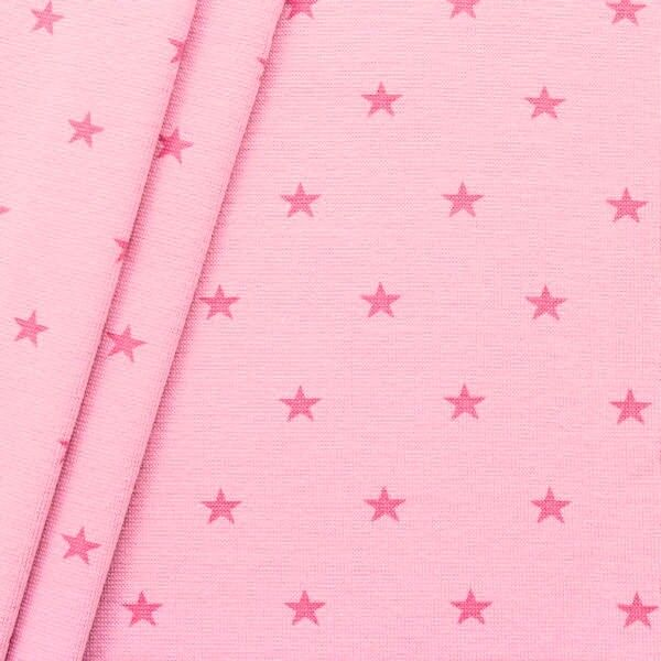 "Baumwoll Bündchenstoff ""Sterne Mittel glatt"" Farbe Rosa"