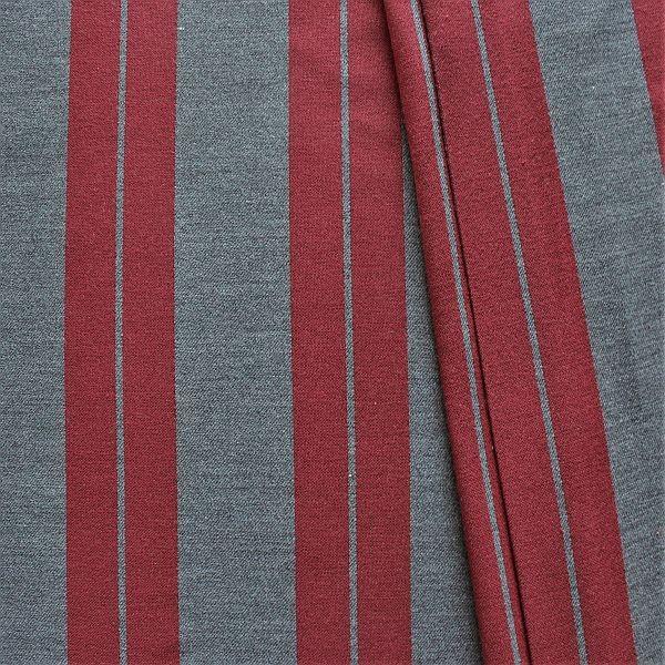 Jacquard Dekostoff Doubleface Doppelstreifen Grau-Rot