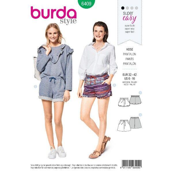 Shorts – Gummidurchzug – Eingrifftaschen, Gr. 32 - 42, Schnittmuster Burda 6409