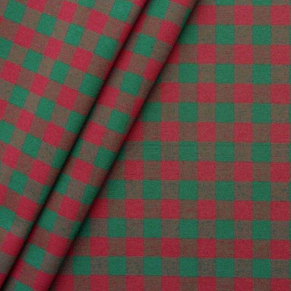 """Dekostoff """"Landhaus Karo mittel"""" Farbe Grün-Rot"""