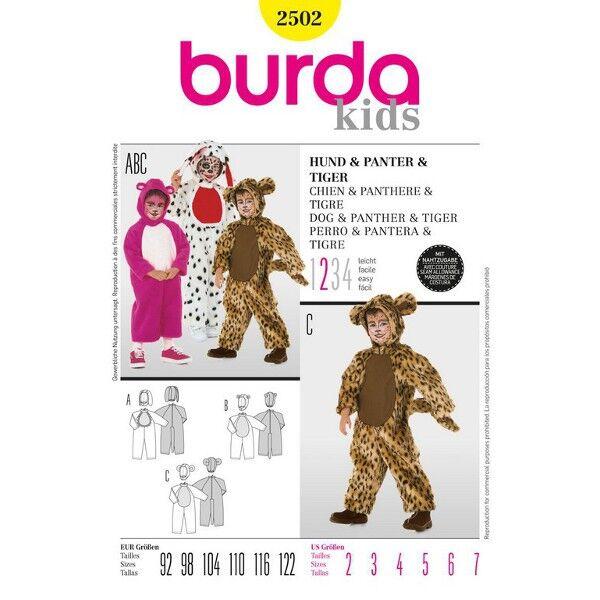 Burda 2502 Schnittmuster für Ganzkörperkostüm für Kinder Hund, Tiger und Panther