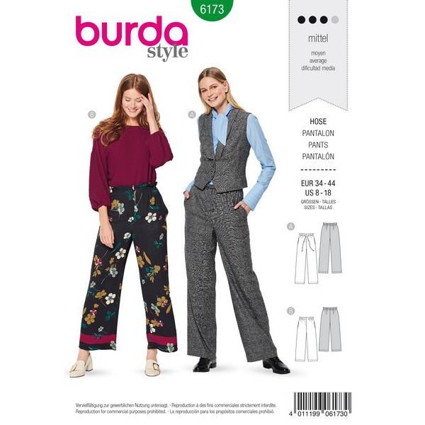 Hose mit Band- oder Gummidurchzug,  Gr. 34 - 44, Schnittmuster Burda 6173