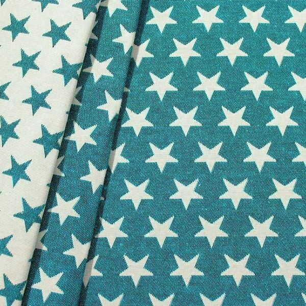 Jacquard Dekostoff Doubleface Stars Petrol-Weiss
