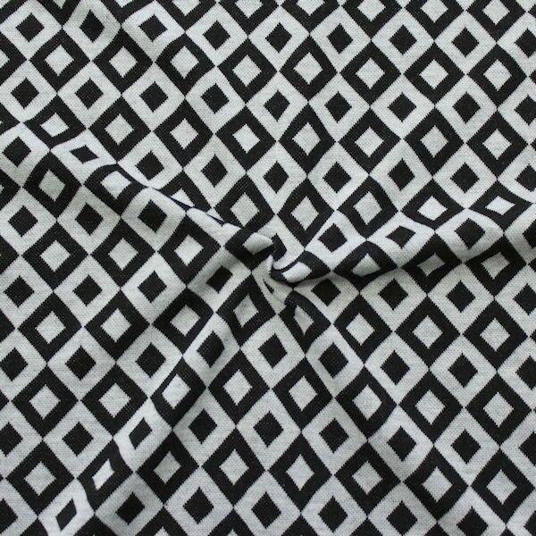 Strick Jersey Quader Rauten Schwarz-Grau
