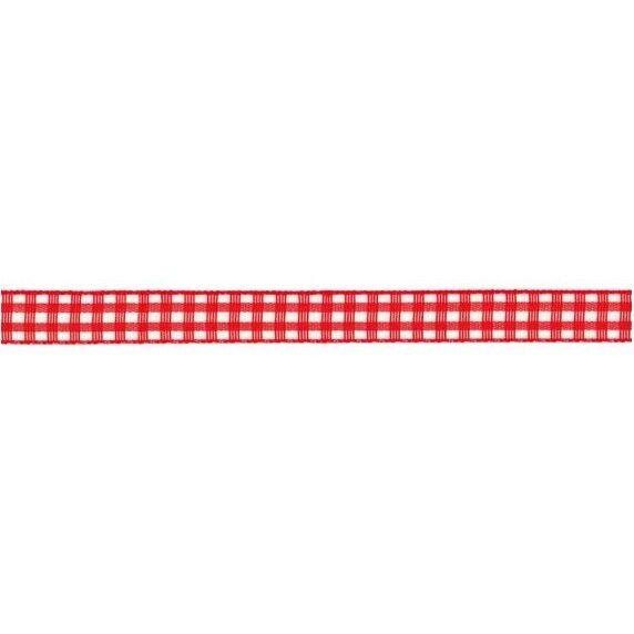 Prym Dekoband kariert 10mm x 4m (Breite / Länge) rot / weiss