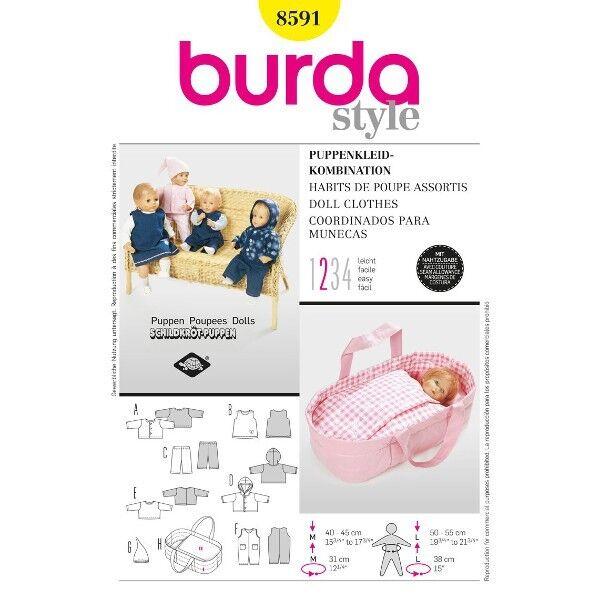 Puppenkleider - Kombination, Gr. 40 - 55 cm,  Schnittmuster Burda 8591