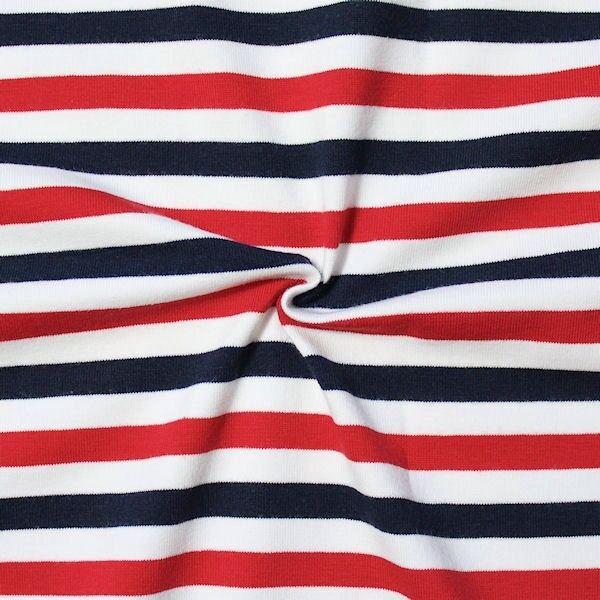 """Baumwoll Stretch Jersey """"Streifen maritim"""" Farbe Blau-Weiss-Rot"""