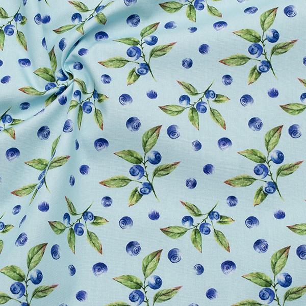 100% Baumwolle Popeline Heidelbeeren Hell-Blau