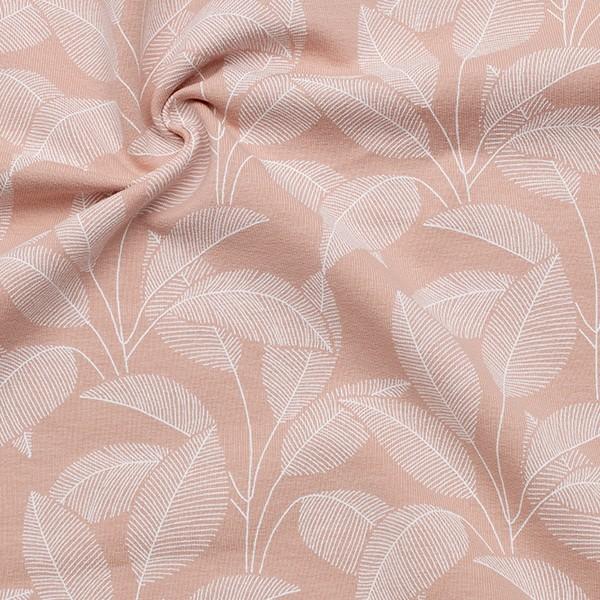 Organic Sweatshirt Baumwollstoff French Terry Blätterfächer Alt-Rosa