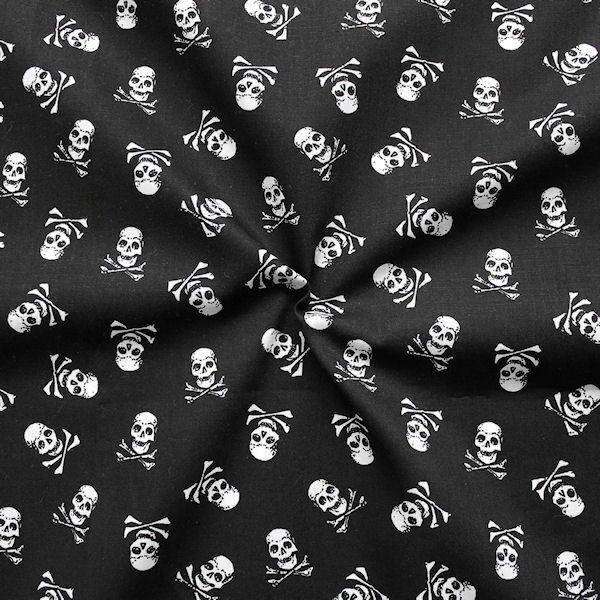 Baumwoll Popeline Skulls Schwarz
