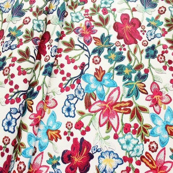 Kunstleder Lederimitat Stickoptik Flower Dream Weiss-Multicolor