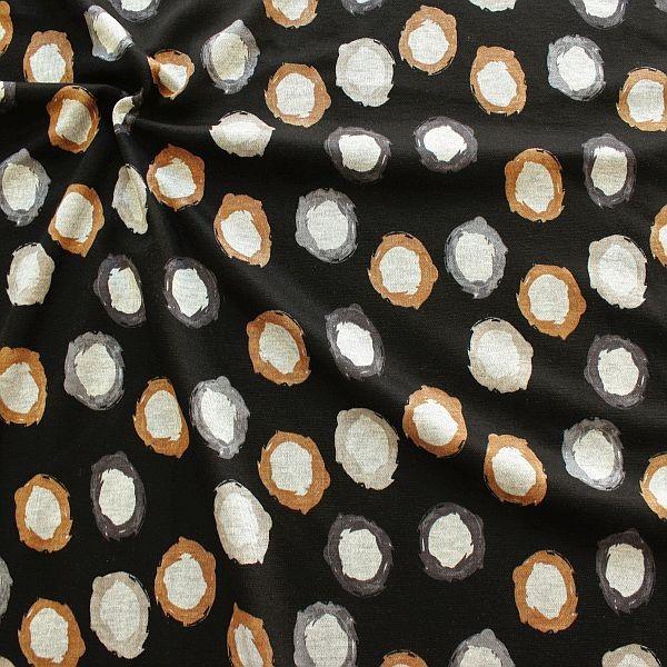 Feinstrick Jersey Painted Circles Schwarz