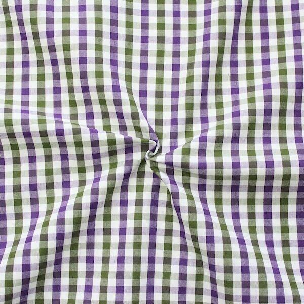 Baumwollstoff Hemden Qualität Fashion Karo Lila-Oliv-Weiss
