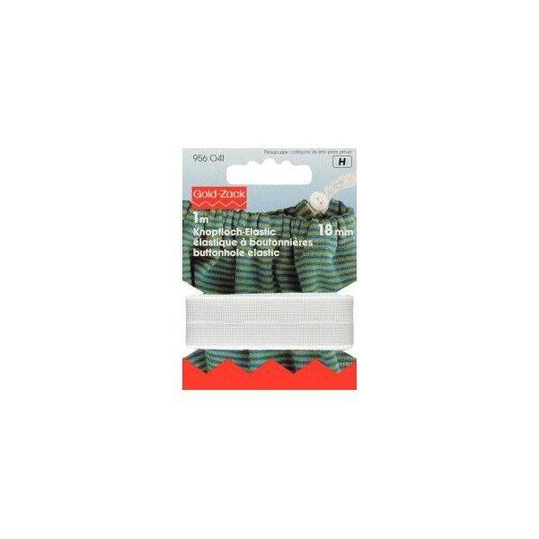 Prym 1m Knopfloch-Elastic 18mm breit weiß