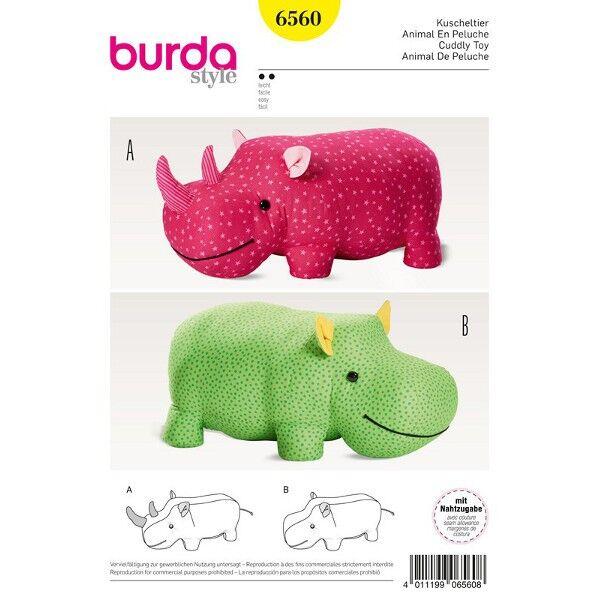 Burda Schnittmuster 6560 XXL-Stofftiere Nilpferd und Nashorn