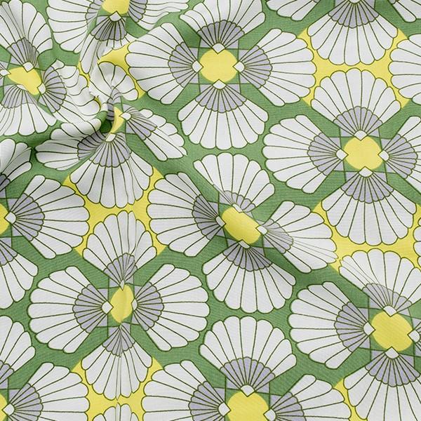 100% Viskose Javanaise Grafik Blüten Grün
