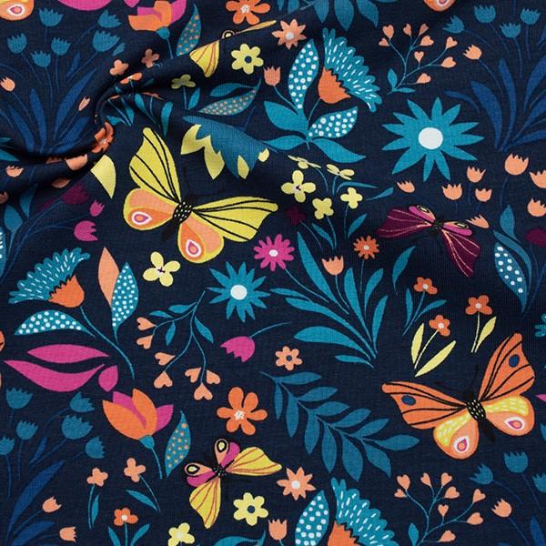 Sweatshirt Baumwollstoff French Terry Schmetterlinge und Blumen Dunkel-Blau