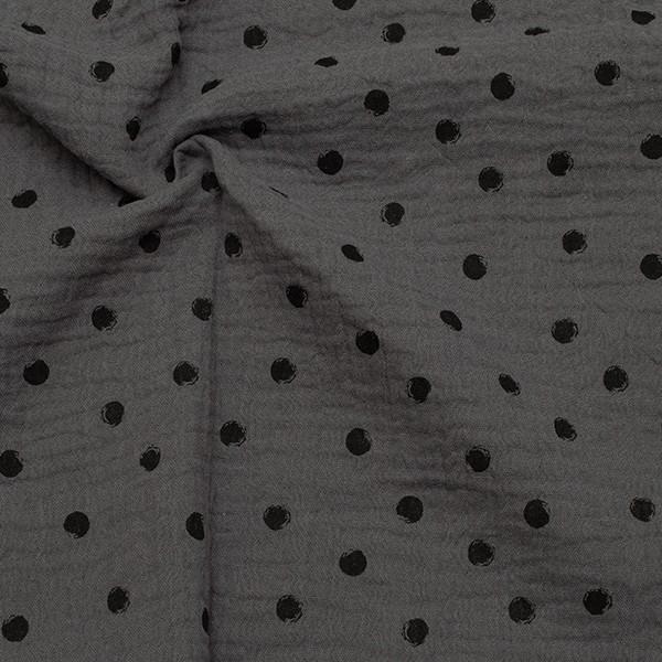 Baumwollstoff Musselin Double Gauze Schwarze Punkte Dunkel-Grau