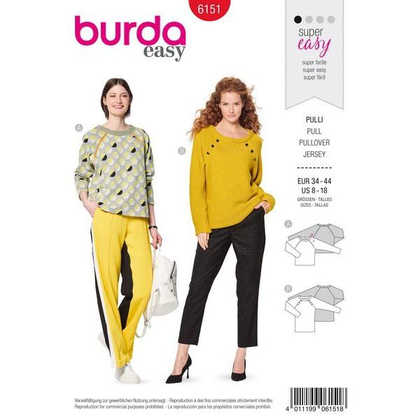 Sweater mit Raglanärmeln – Paspel- oder Knopfverzierung, Gr. 34 - 44, Schnittmuster Burda 6151