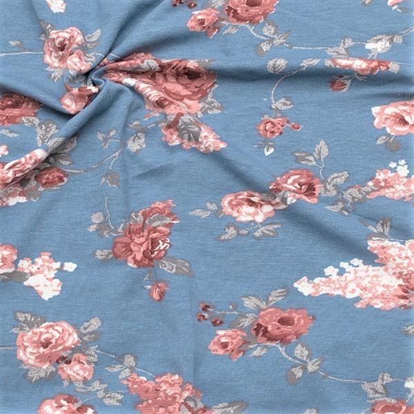 Viskose Stretch Jersey Blumenbukett Tauben-Blau