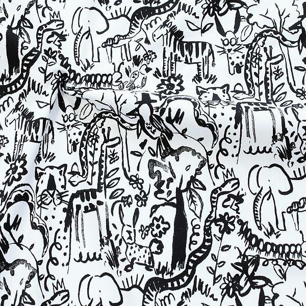 Baumwoll Stretch Jersey Tiere Afrikas Weiss-Schwarz