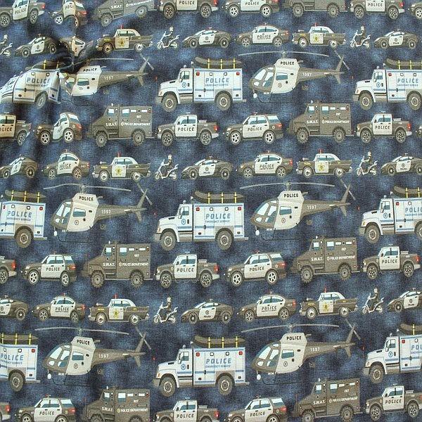 Sweatshirt Baumwollstoff French Terry Police Blau