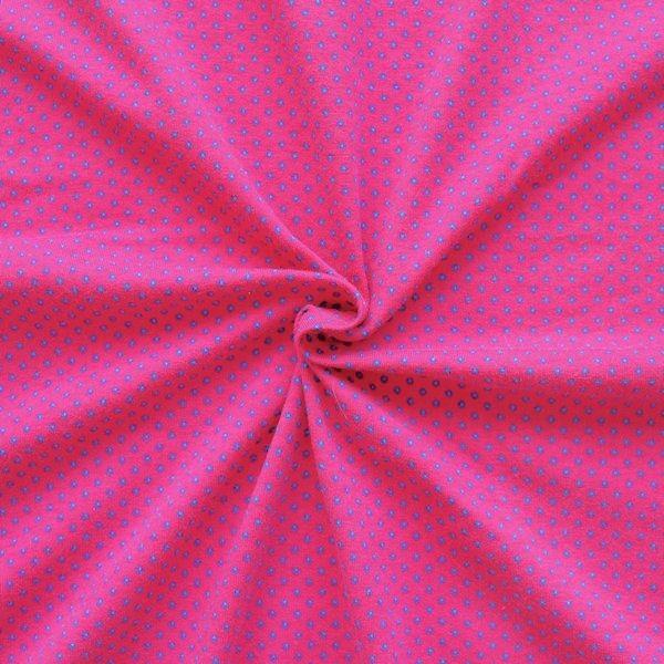Baumwoll Stretch Jersey Punkte Pink Hell-Blau