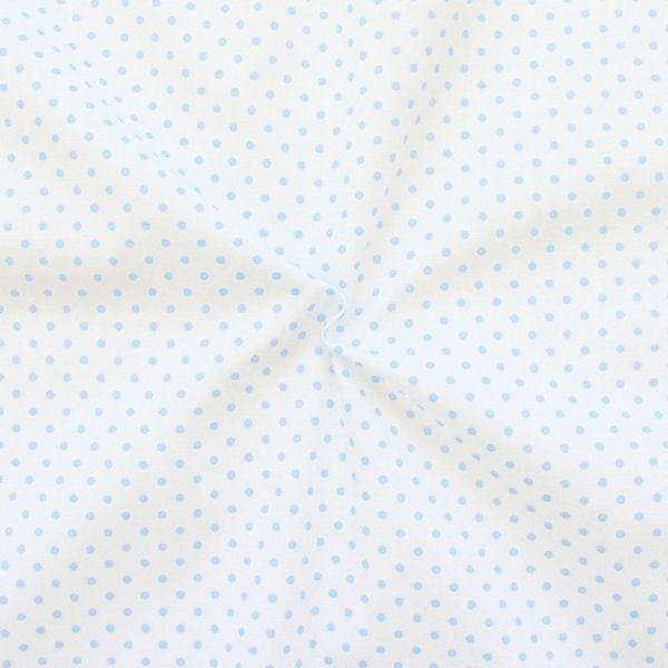 """100% Baumwollstoff """"Tupfen Klein"""" Farbe Weiss Hell-Blau"""