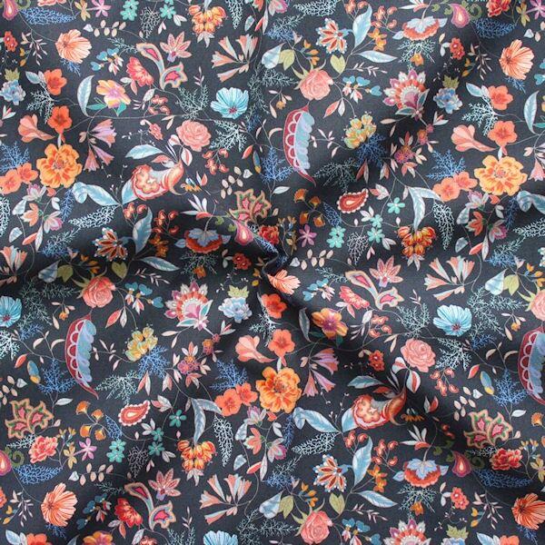 Baumwolle Popeline Blumen Paisley Mix Dunkel-Blau