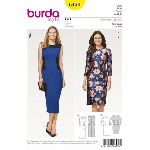 Kleid mit Einsätzen – Etuikleid , Gr. 34 - 44, Schnittmuster Burda 6450