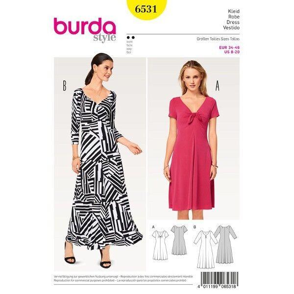 Kleid - Shirtkleid - Jerseykleid, Gr. 34 - 46, Schnittmuster Burda 6531