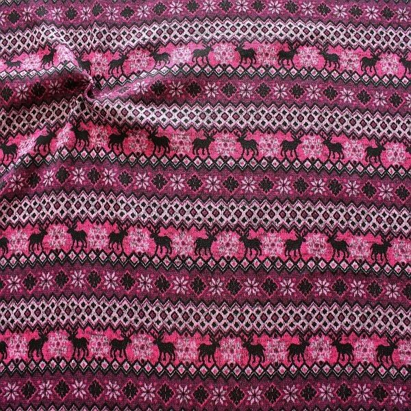 Strick Fleece Norweger Style Pink-Violett