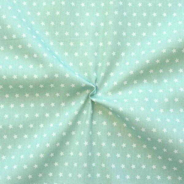 """100% Baumwolle Popeline """"Sterne klein"""" Farbe Mint-Grün Weiss"""