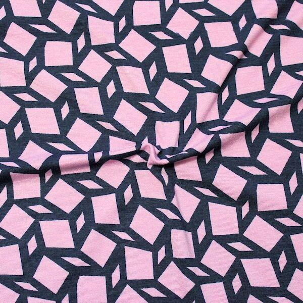 """Viskose Stretch Jersey """"Mosaik"""" Farbe Rosa-Navy"""